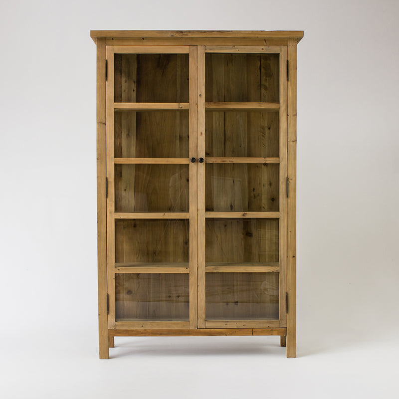 Beach cabinet with 2 glass doors in bleached