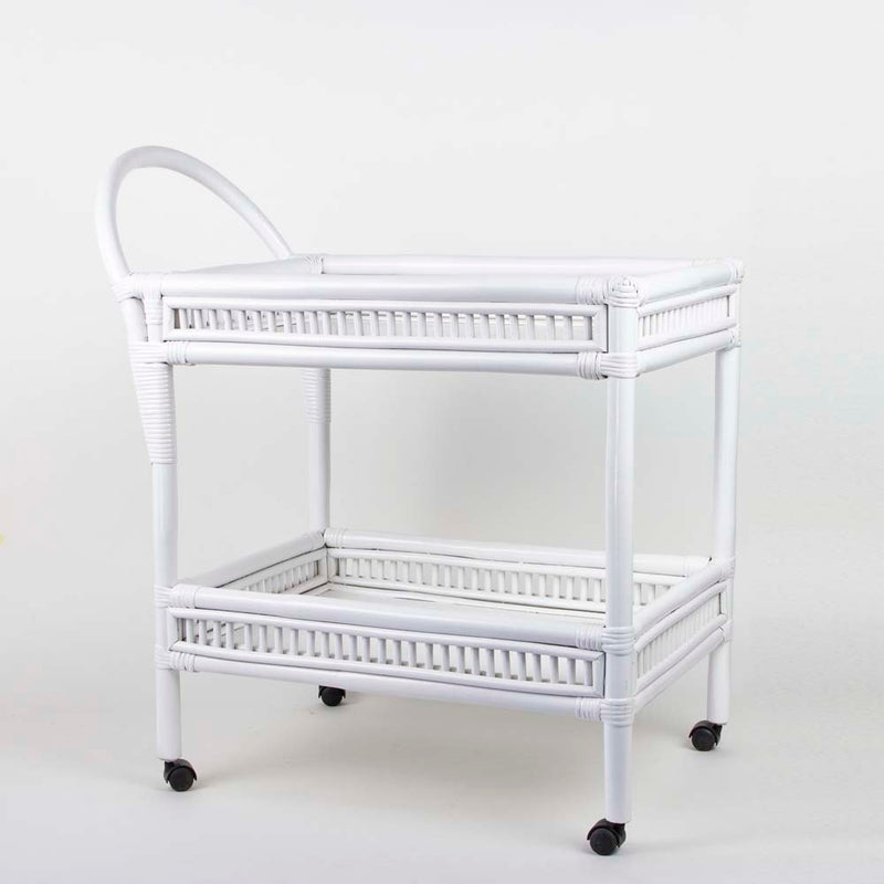 Rattan drinks trolley in white