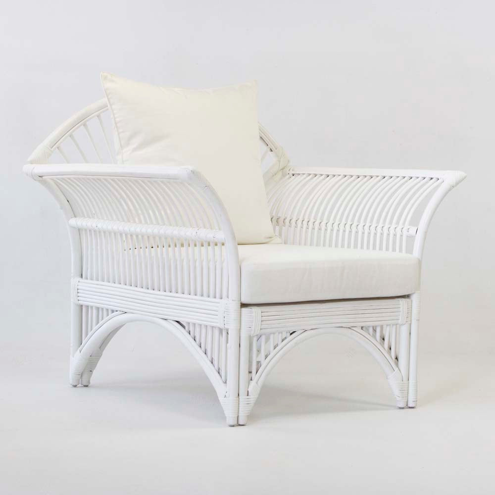 Plantation rattan armchair in white