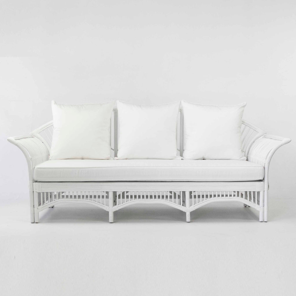 Plantation rattan sofa in white
