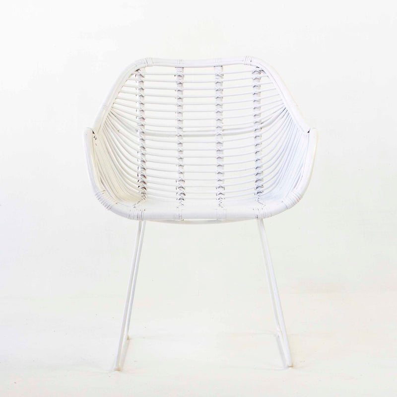 Havana arm chair in white cane