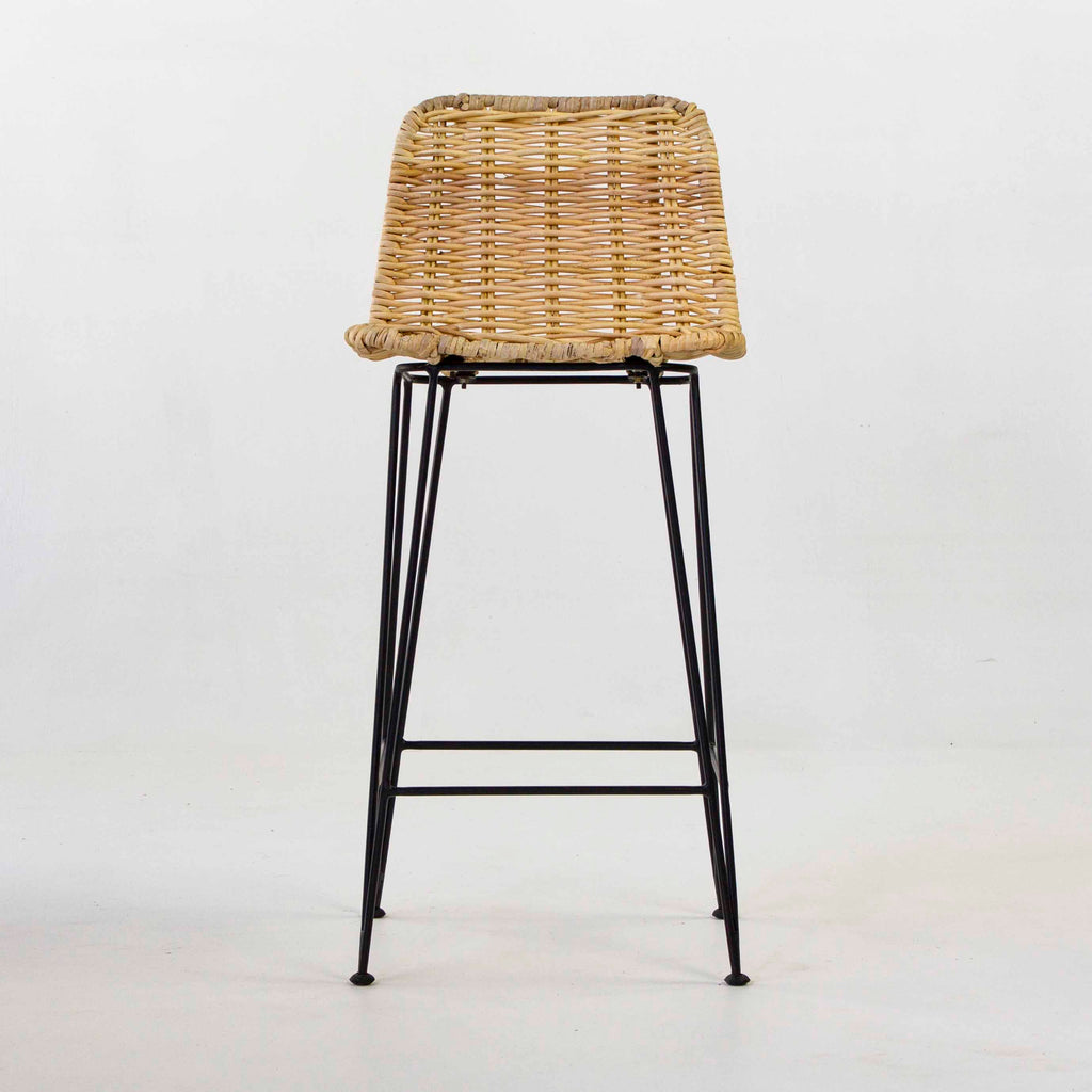 Rattan bar stool in natural