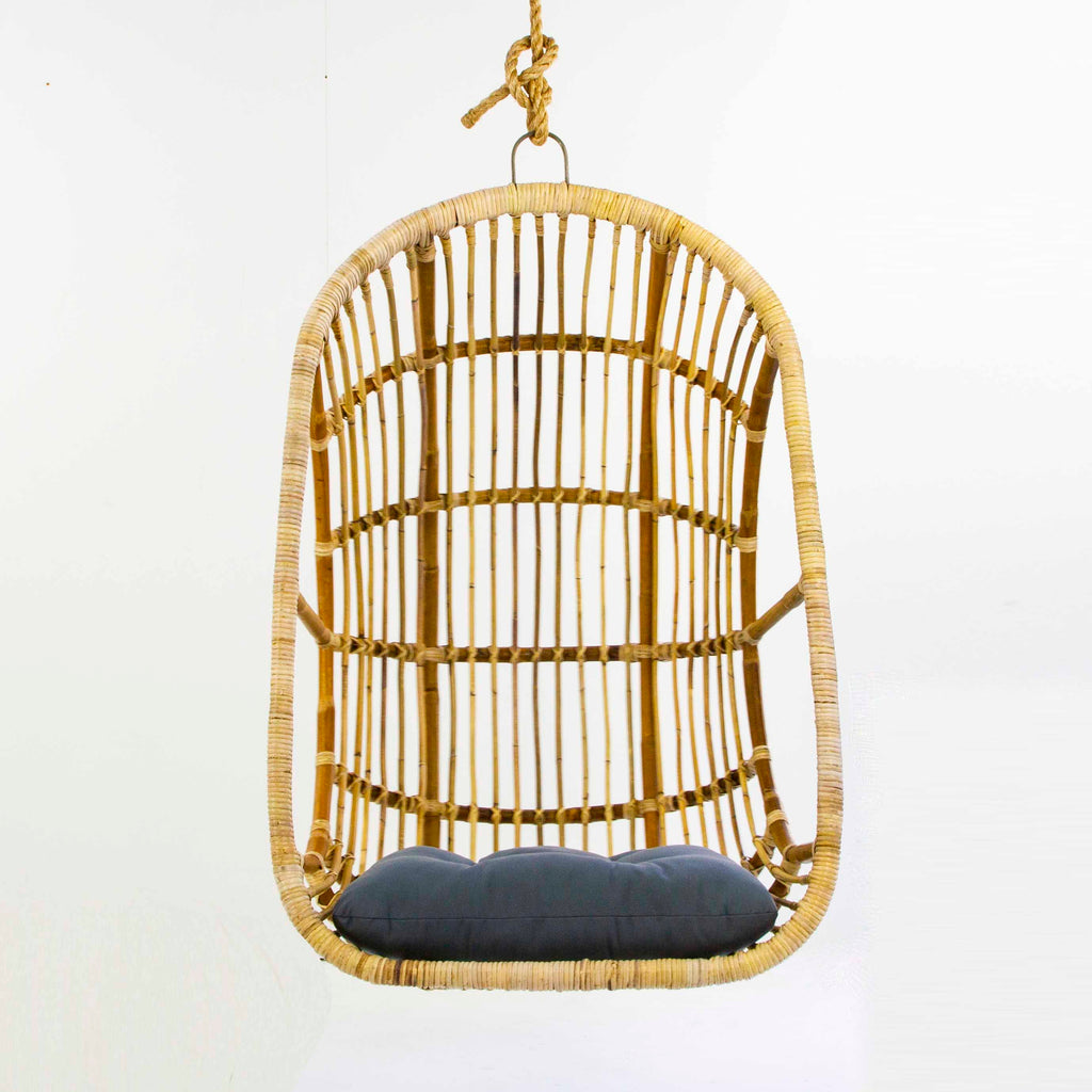 Hanging rattan chair in natural