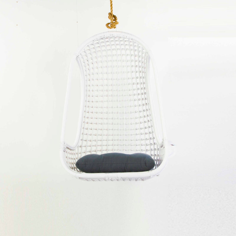 Hanging rattan chair in white