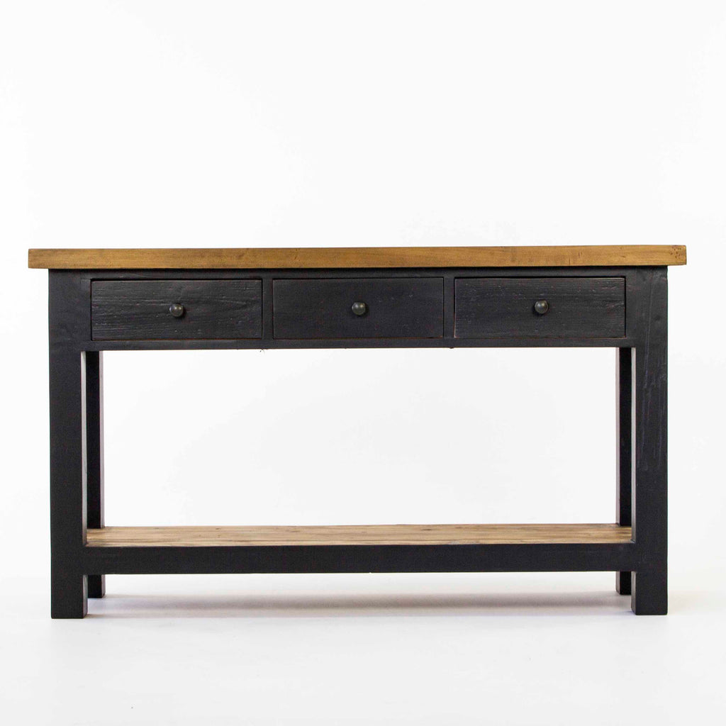 Beach console table with 3 drawers and shelf in black