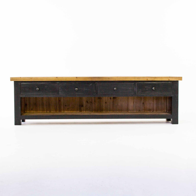 Beach low TV console with 4 drawers in black