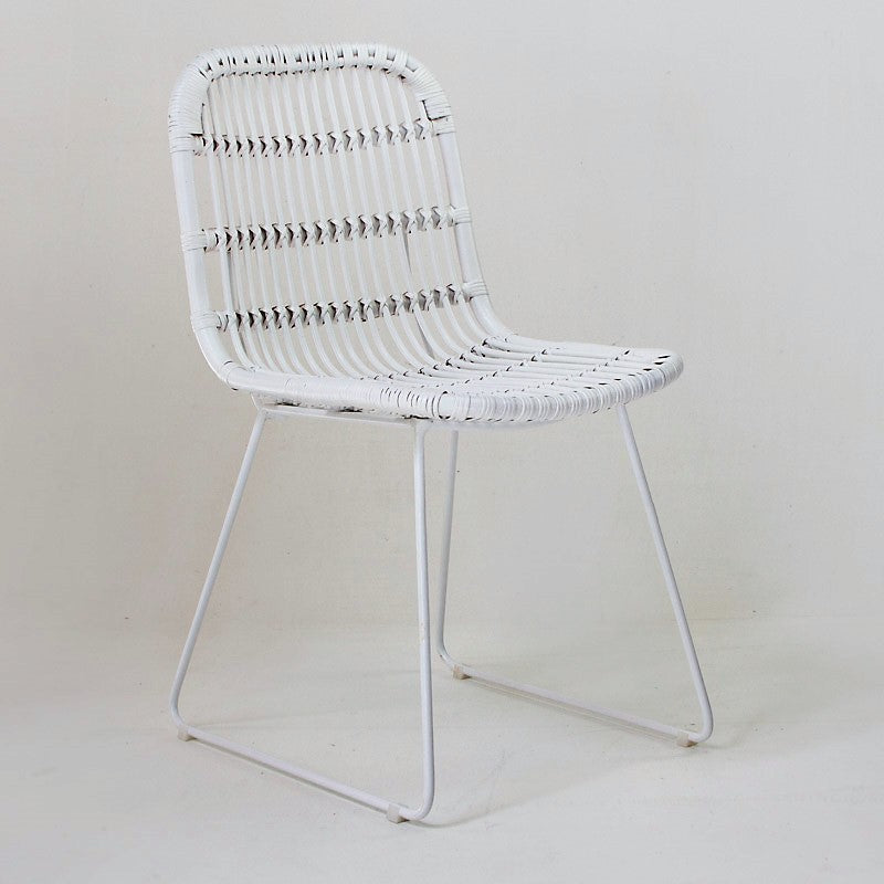 Havana dining chair in white cane