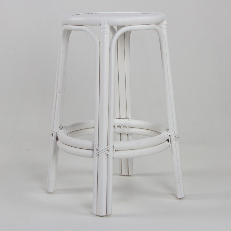 Bahama rattan bar stool in white