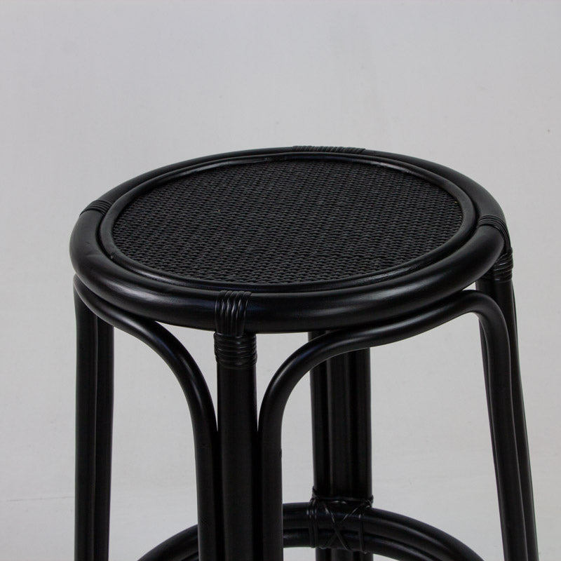 Bahama rattan bar stool in black