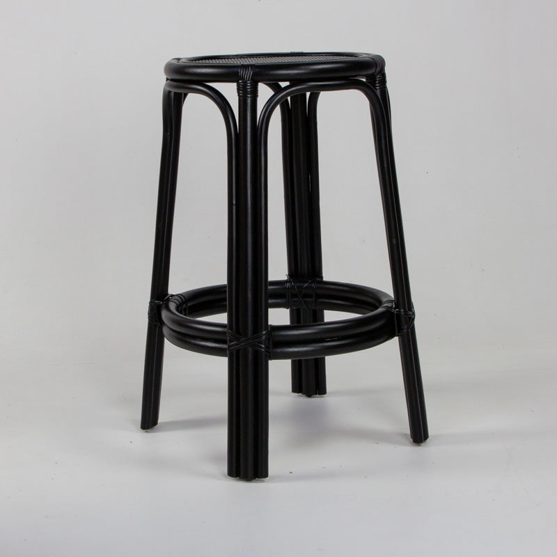 Bahama Rattan Bar Stool In Black Eclectic Style