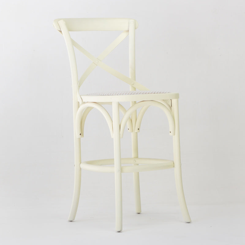 Cafe bar stool with back in cream
