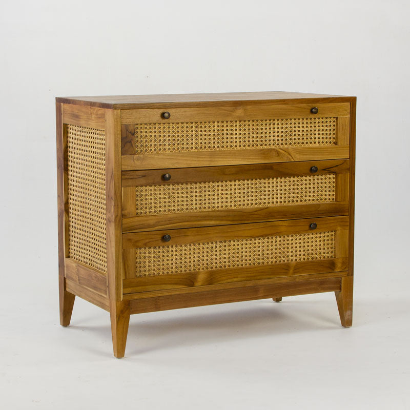 The Tropic 3 wooden drawer cabinet with rattan