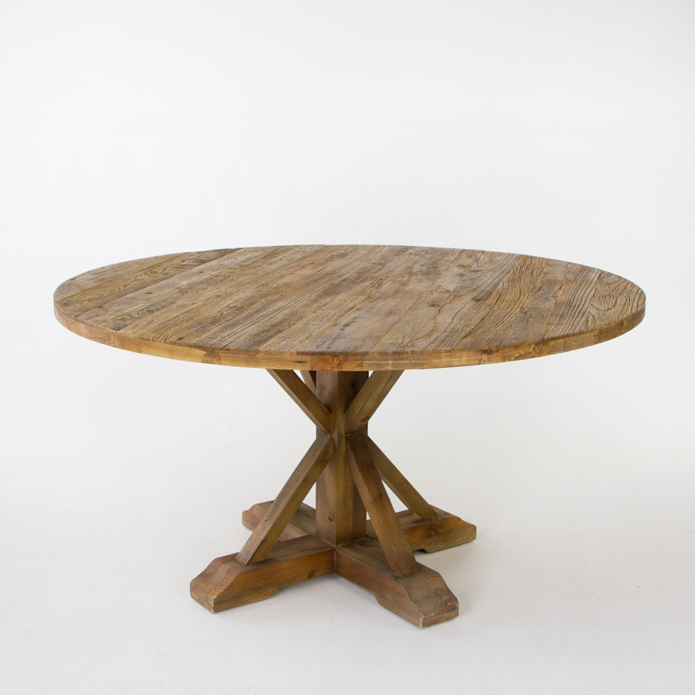 Beach round dining table in bleached