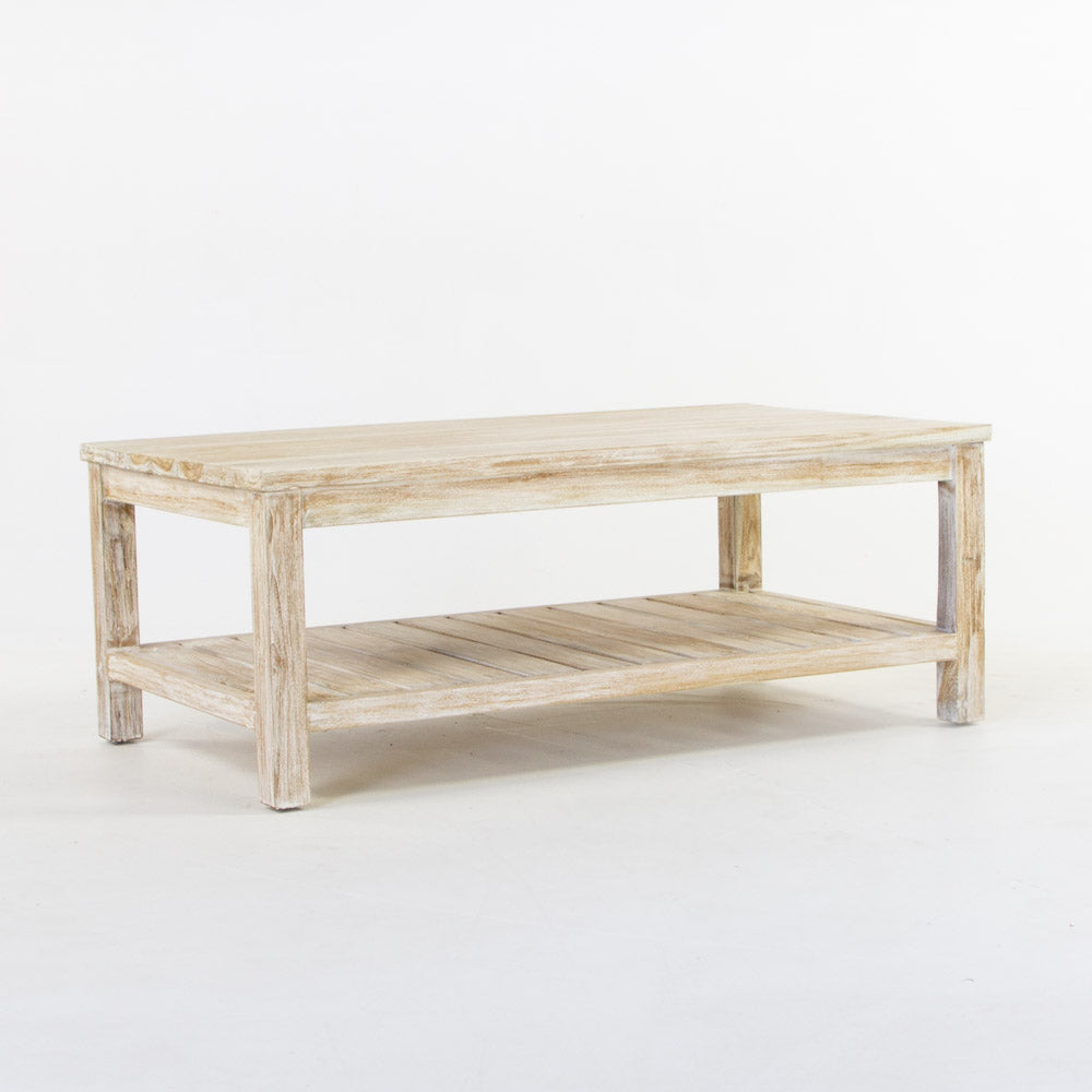 Tropic coffee table with slats in whitewash