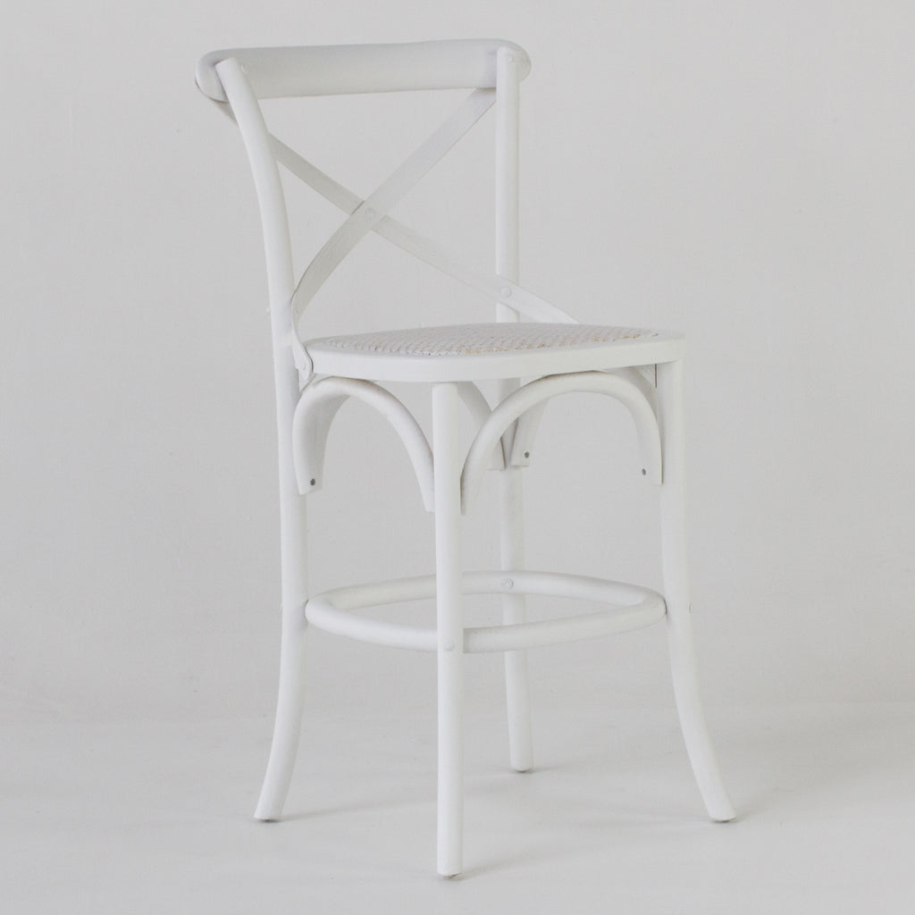 Cafe bar stool with back in white