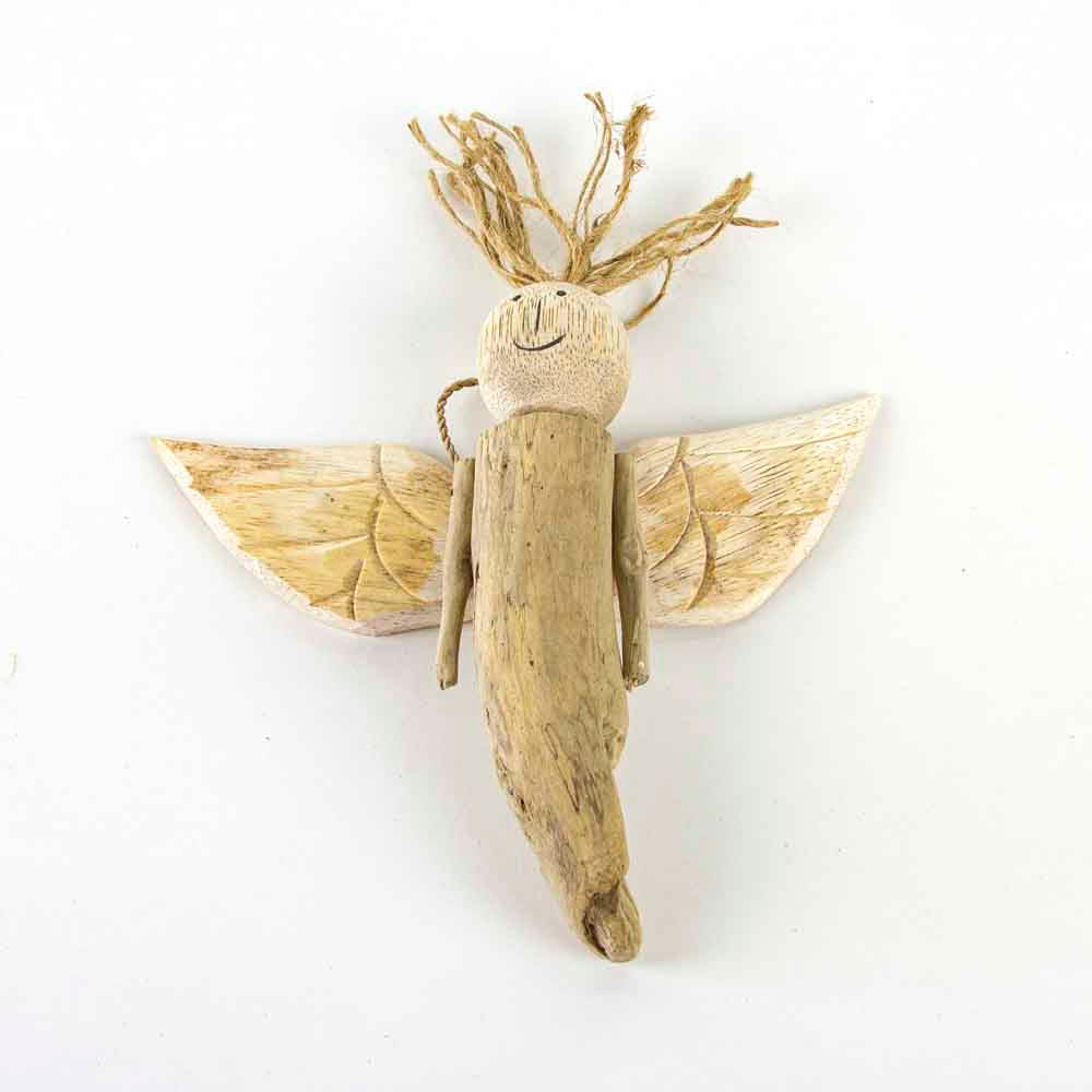 Driftwood hanging angel decoration small