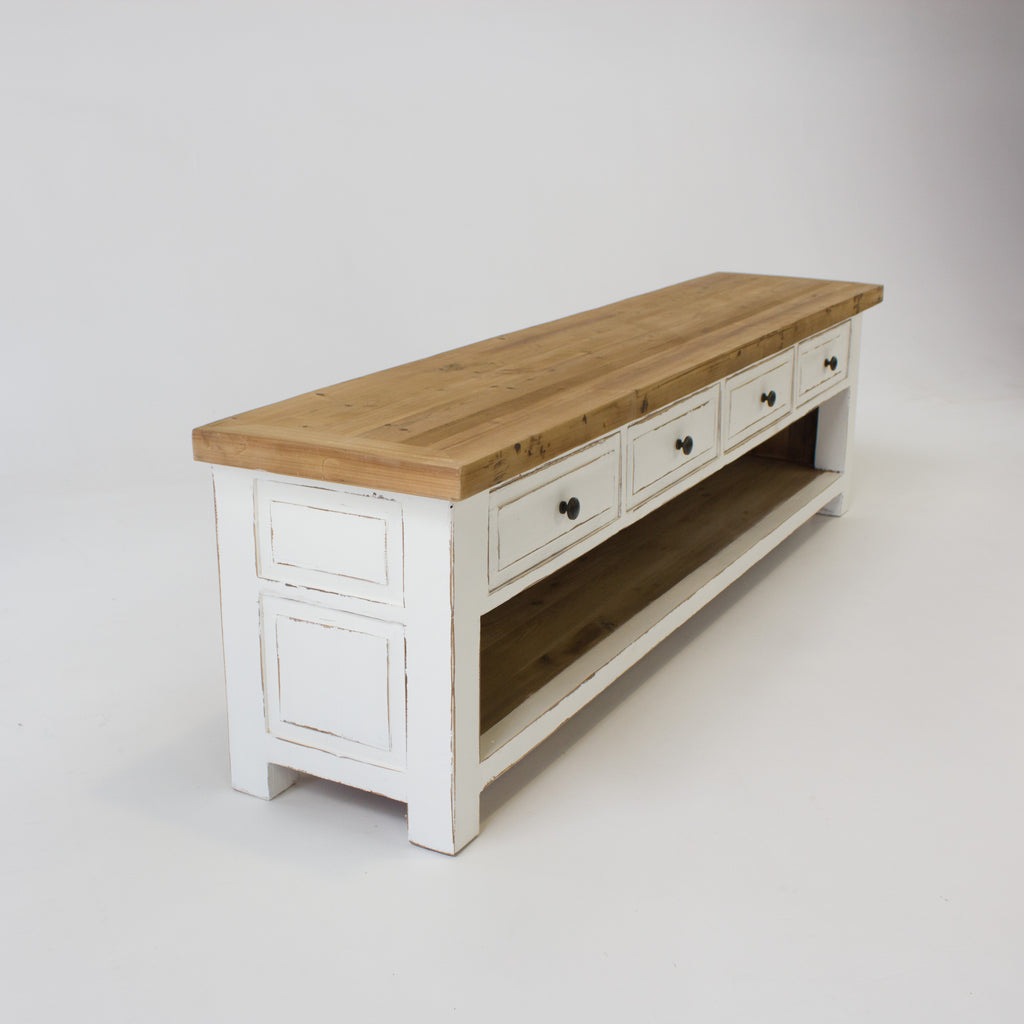 Beach low entertainment unit with 4 drawers in white