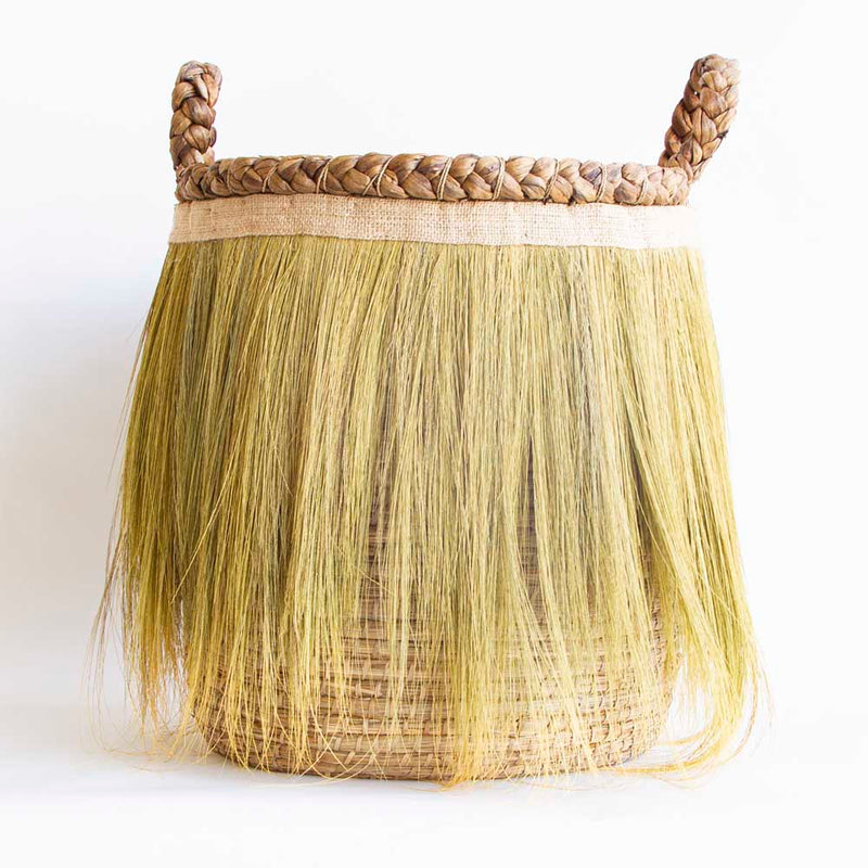 Tall basket with fringe and handles