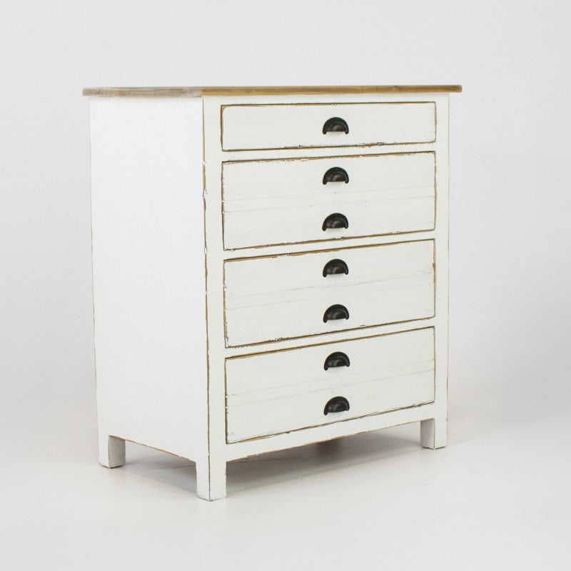 Beach cabinet with 4 drawers in white