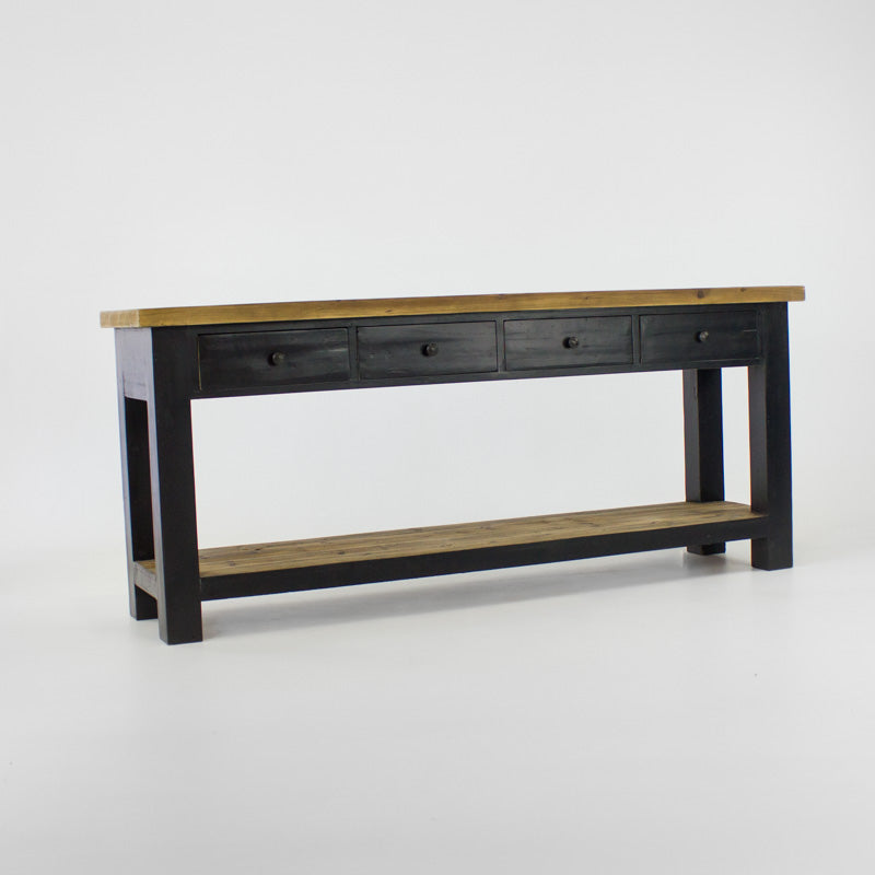 Beach console table with 4 drawers and shelf in black
