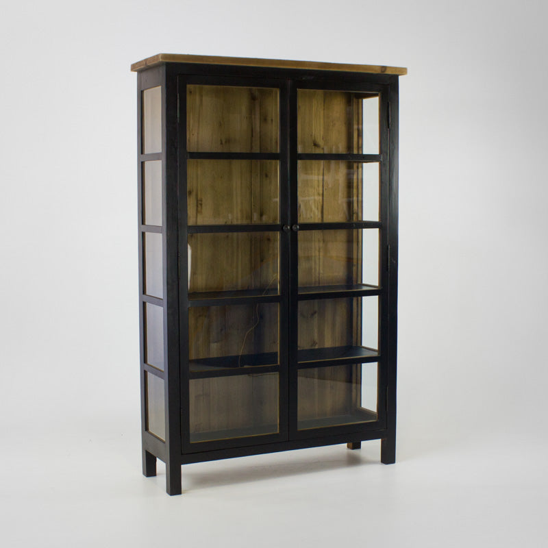 Beach cabinet with 2 glass doors in black