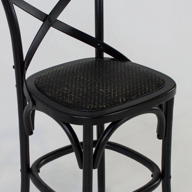 Cafe bar stool with back in black