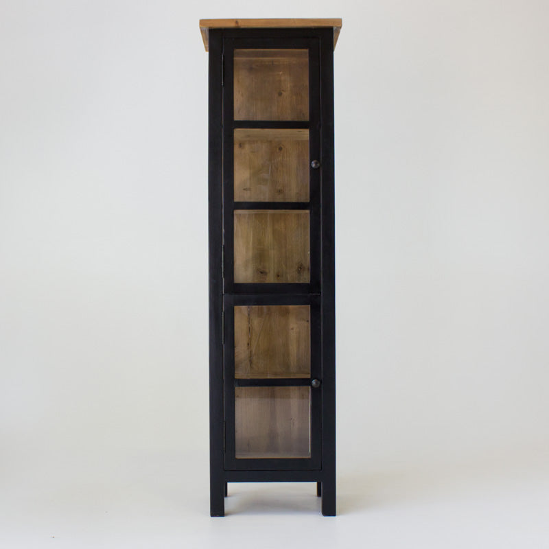 Beach cabinet narrow with 2 glass doors in black