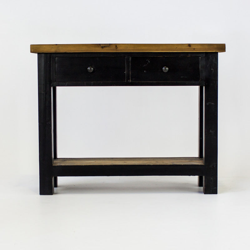 Beach console with 2 drawers and shelf in black