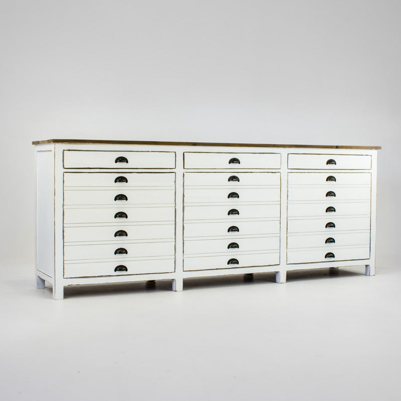Beach buffet with 3 drawers and 3 doors in white