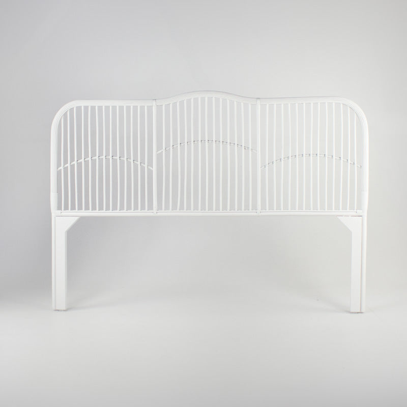 Caribbean rattan bedhead queen size in white