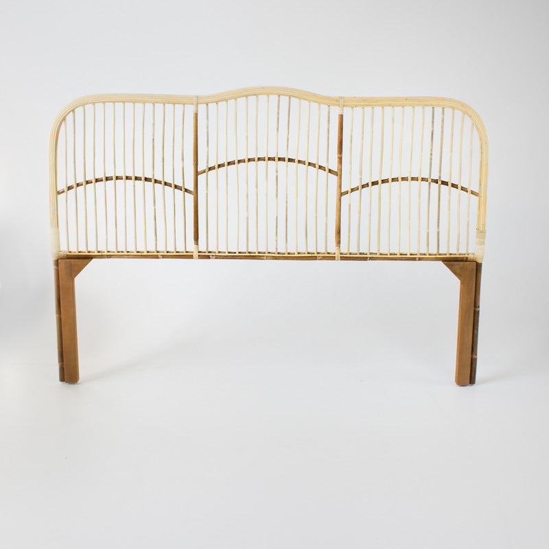 Caribbean rattan bedhead queen size in blonde