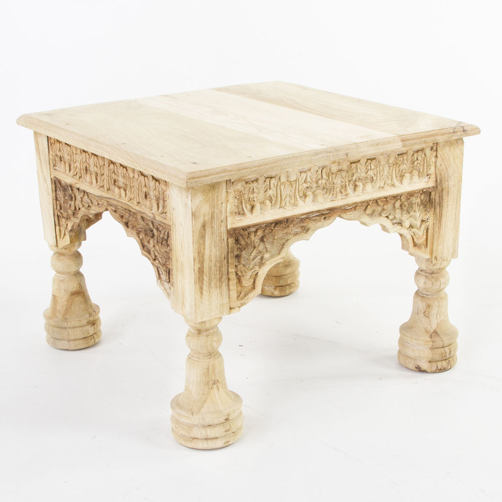 Indian coffee table with carved arched sides