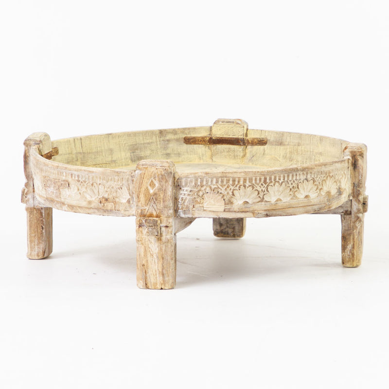 Indian old grinding wheel table in bleached finish
