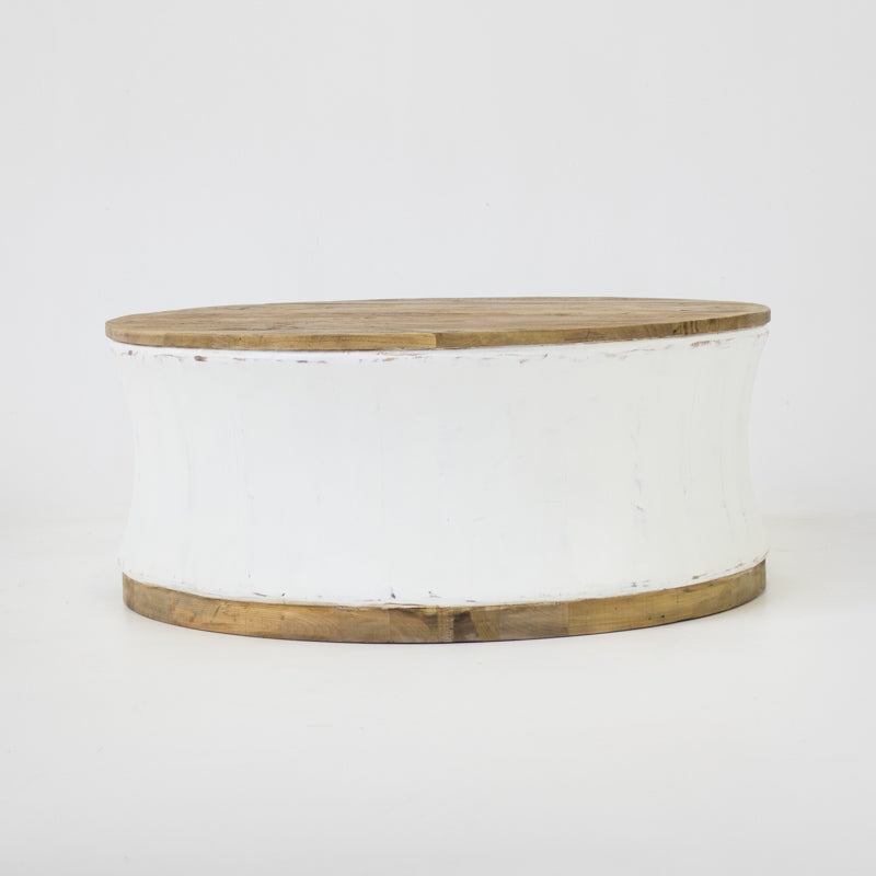 Beach large round coffee table in white