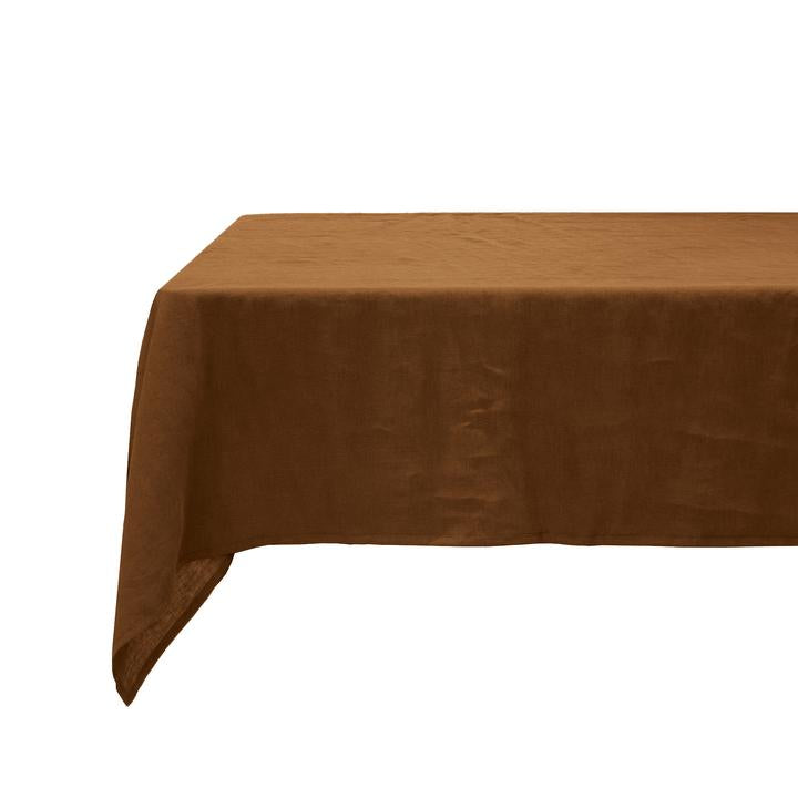 Linen tablecloth in hazel
