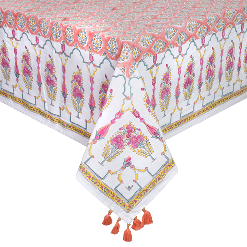 DWBH hand block print tablecloth in coral