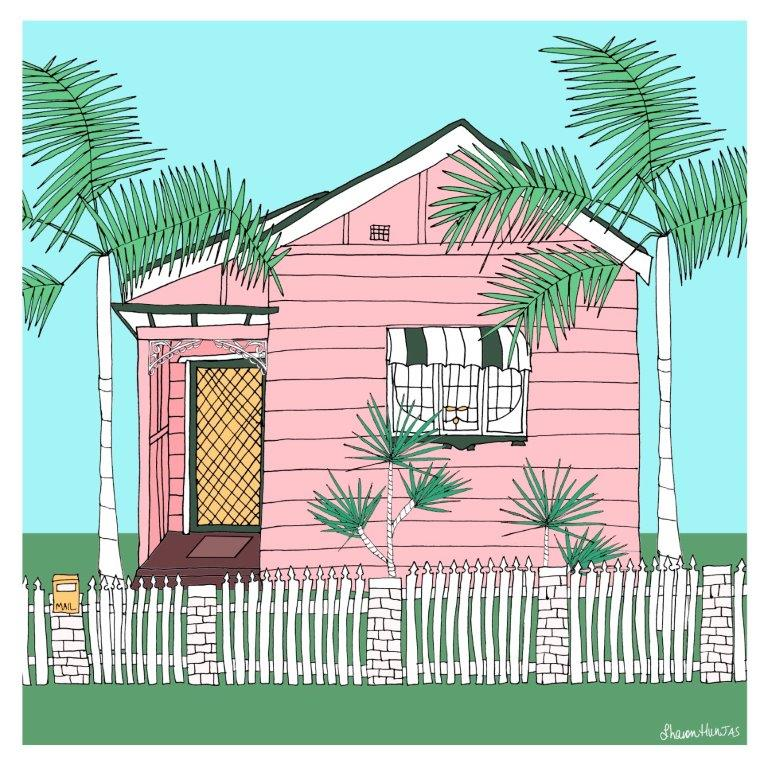 The pink house with the orange door framed art 50cm by Studio Shaswah
