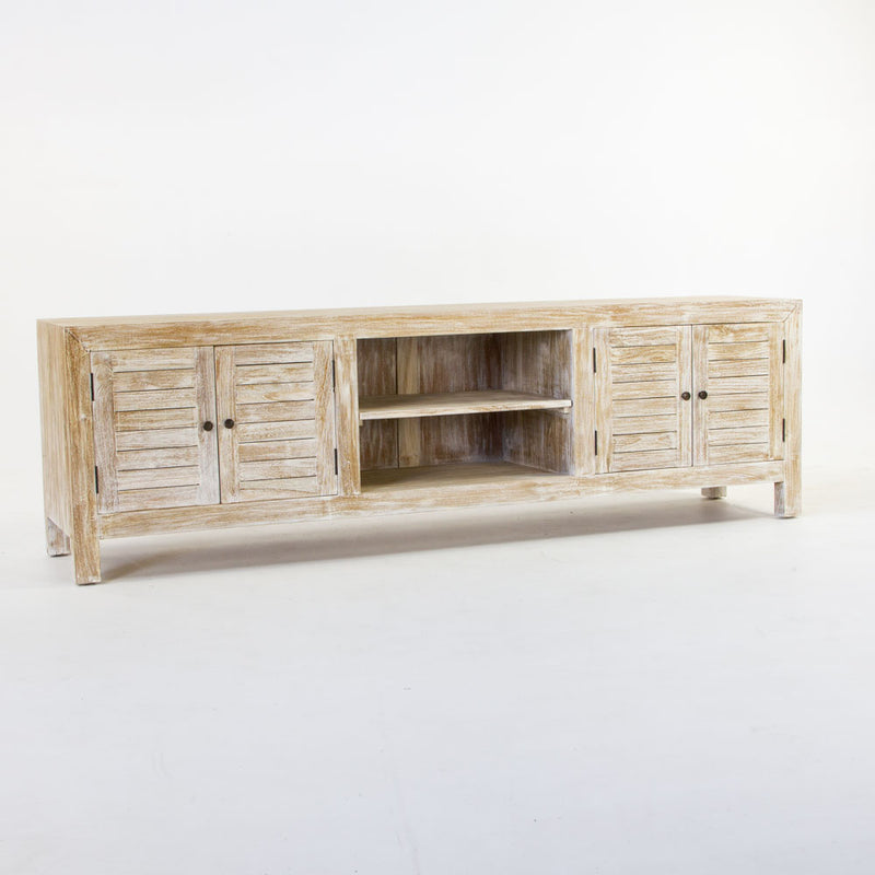Tropic TV buffet with slat door in whitewash