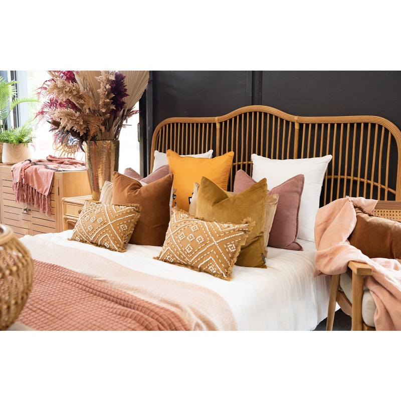 Caribbean rattan bedhead king size in blonde