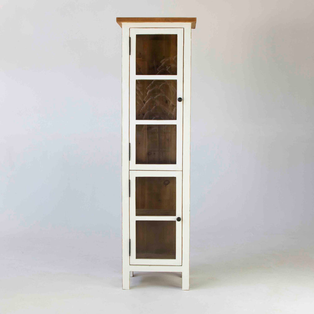 Beach cabinet narrow with 2 doors in white