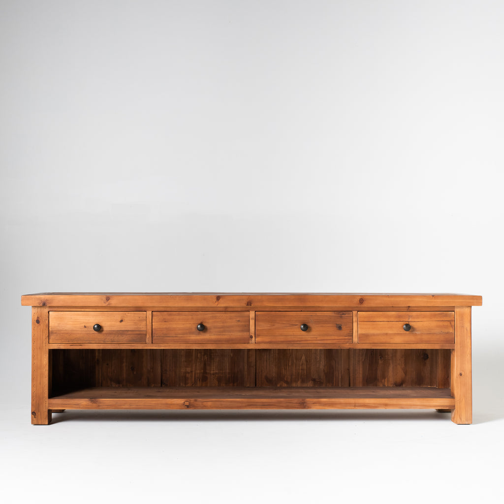 Beach low entertainment unit with 4 drawers in dark natural