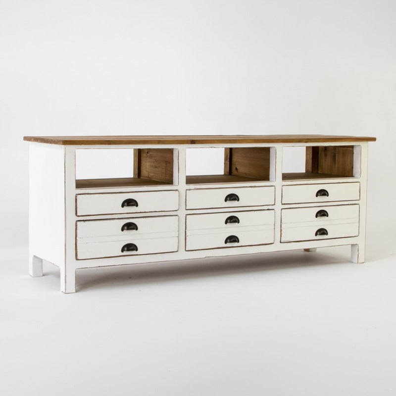 Beach low entertainment unit with 6 drawers in white