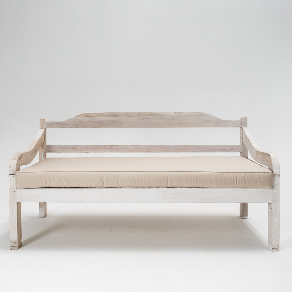 Recycled daybed with mattress in whitewash
