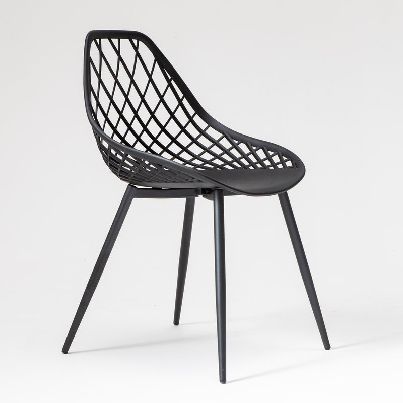 Jali dining chair with metal legs in black