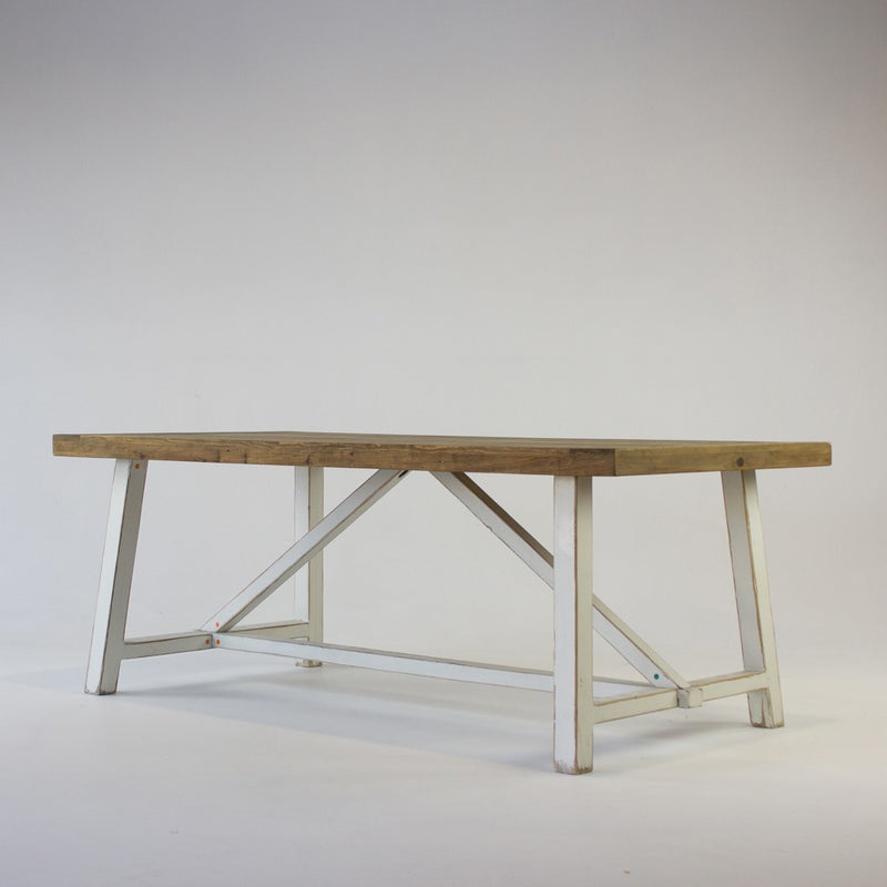 Beach dining table with white base 2m