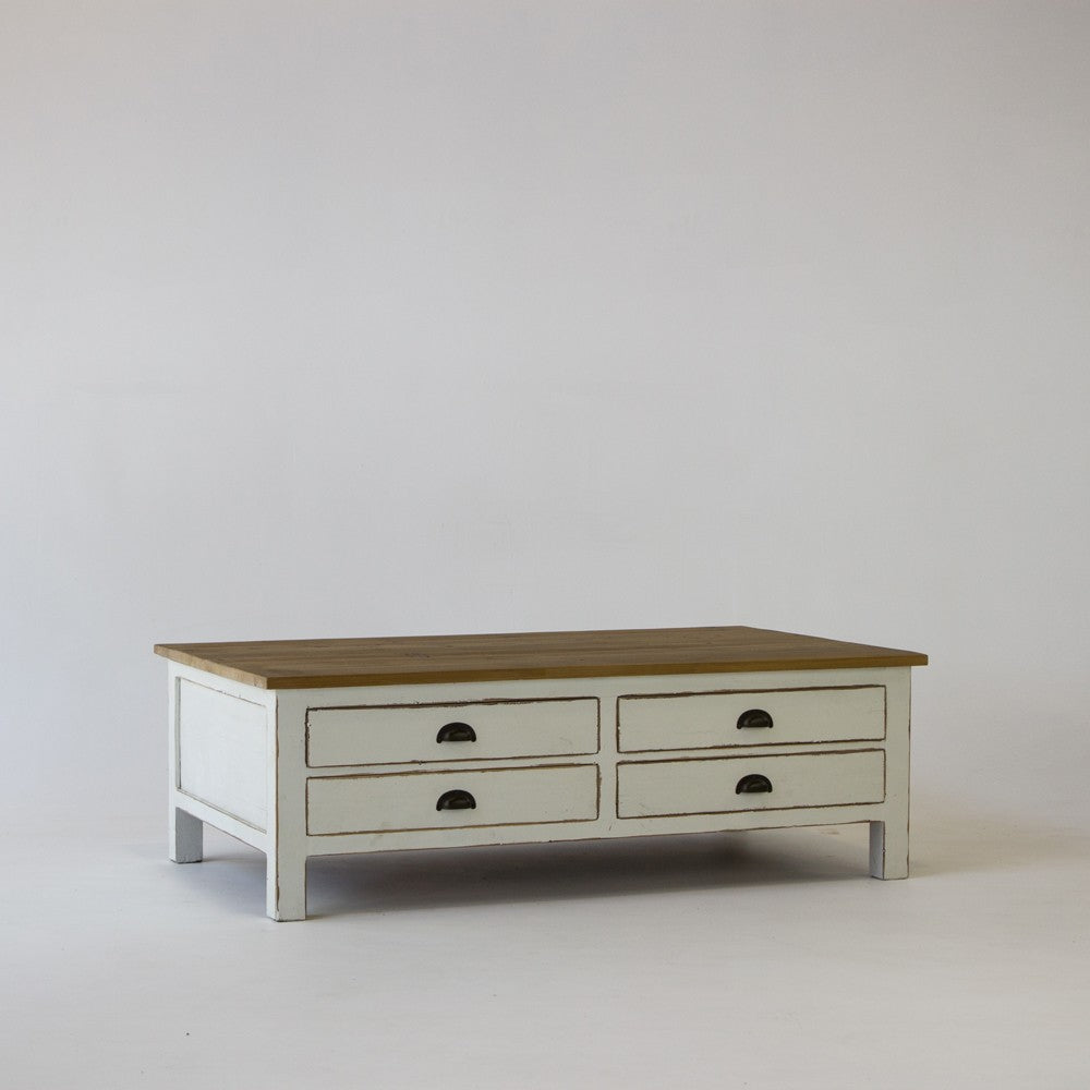 Beach coffee table with 8 drawers in white