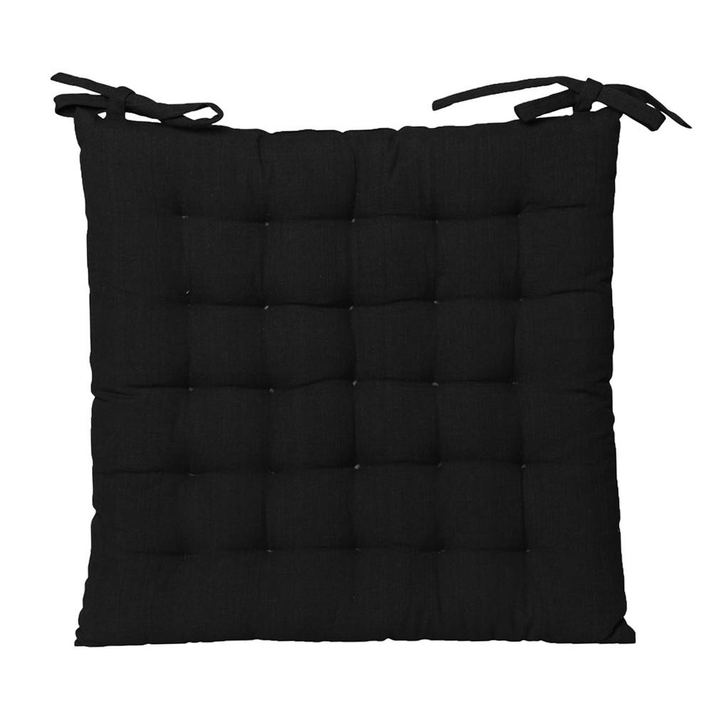 Outdoor solid chair pad in black
