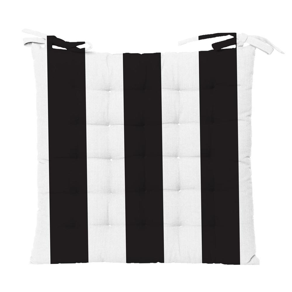 Outdoor stripe chair pad in black