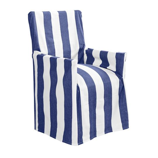Stripe director chair cover in blue