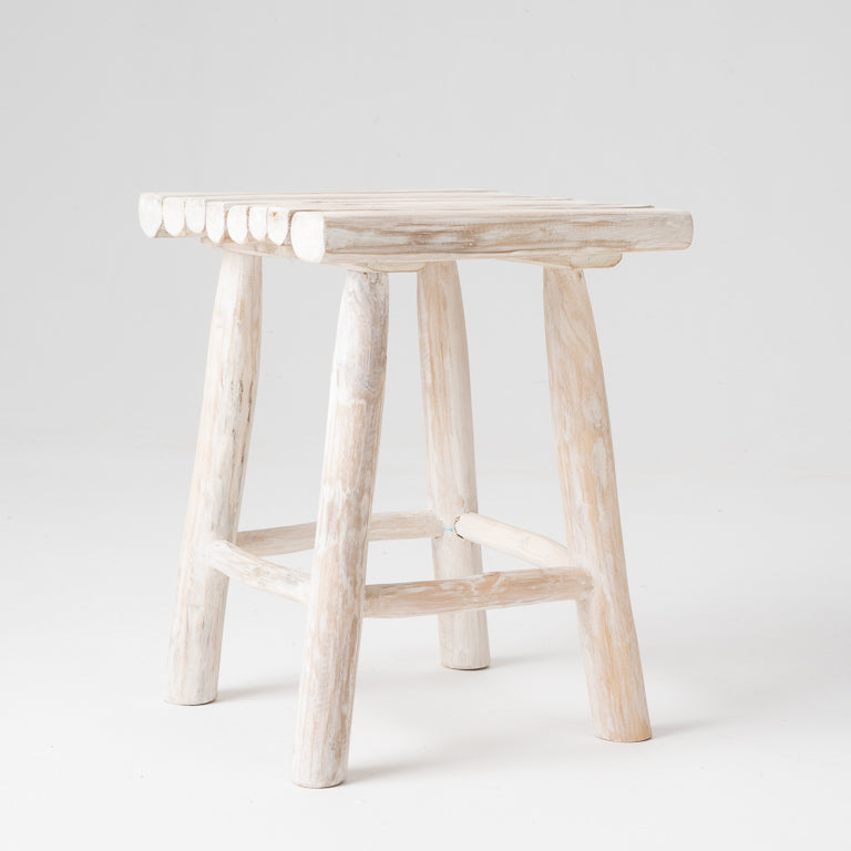 Log stool in whitewash
